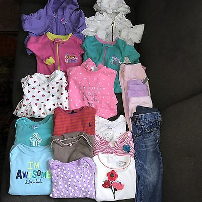LOT Baby Girl Clothes 18 Pieces Gymboree, Ralph Lauren, Carters, Old Navy 9month