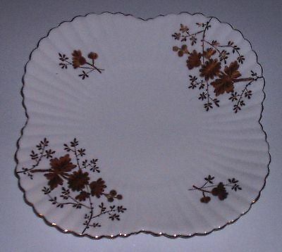 "Antique Wileman Shelley Alexandra Shape,cake Plate - Gold ""aster Sprays"" - C1886"