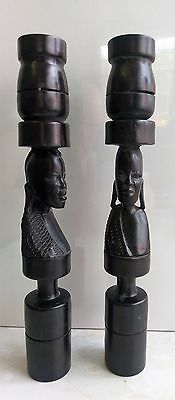 Pair of Carved African Ironwood Candle Holders, Statues. Carved Tribal Figures