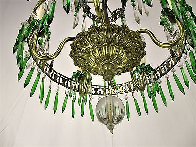 Art Nouveau Antique 3 Tier Wedding Chandelier Green Prisms 1900 Brass bronze