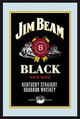 Jim Beam Label Logo black Nostalgia Bar Mirror 8 11/16x12 5/8in