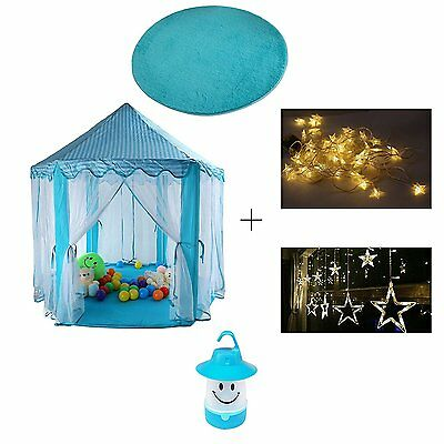 Princess Castle Play Tents/Playhouse series with Star Light Warm Soft Blanket  B