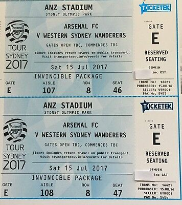 Arsenal vs Western Sydney Wanderers AWESOME INVINCIBLE Package - 2 Tickets