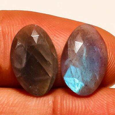 FACETED LABRADORITE NATURAL GEMSTONE OVAL 9 Ct.