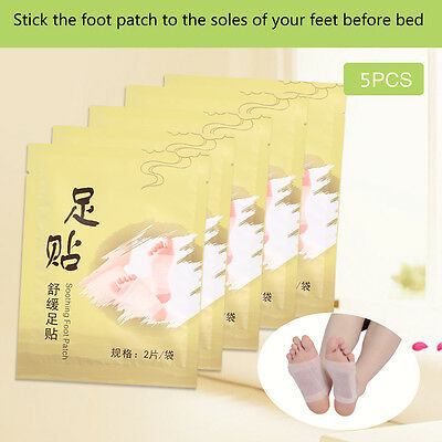 5Pairs Cleansing Detox Foot Pads Patches Remove Body Toxins Relaxing Adhesive SR