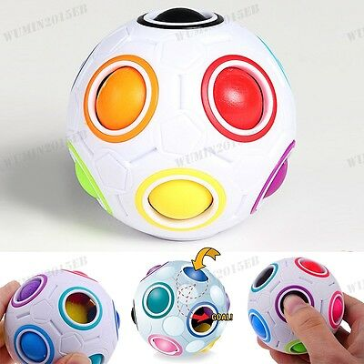 Magic Cube Rainbow and White Spherical Ball Shaped Speed Puzzle Toy Gift UK
