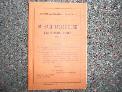 South Australian Railways Mileage Tables Book. No 1 Southern Lines.