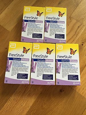 Freestyle Optium beta ketone Blood Testing strips 5 X Packs 10