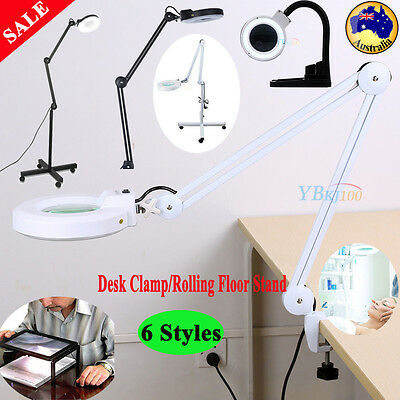 5X Beauty Jewelry Reading Rolling Floor/ Desk Clamp Magnifier Lamp Light 6 Style