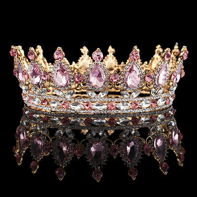 2'' Princess Pink Crystal Diadem Crown Baroque Rhinestone Royal Tiara Headband