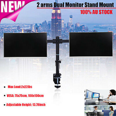 "Dual HD LED Desk Mount Monitor Stand Bracket 2 Arm Holder Set for 13""-27"" Screen"