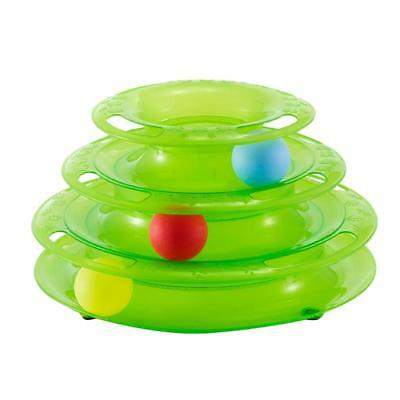 Trois couches Pet Cat Kitten Toys Intelligence Crazy Play Ball Tray Green