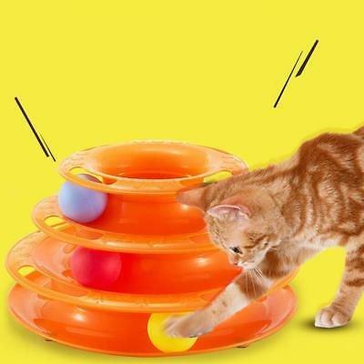 Trois couches Pet Cat Kitten Toys Intelligence Crazy Play Ball Tray Orange