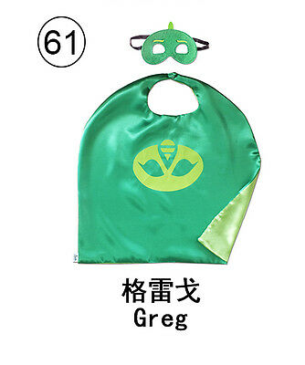 27.5 inch Kids Green Cape Mask Girl Party Costume Sets Birthday Favourate Gifts