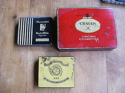 3 Cigarette Tobacco Empty Tins Craven A Marcovitch 555 State Express