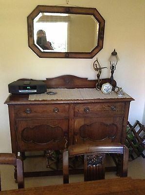 Antique Sideboard And Separate Matching Mirror