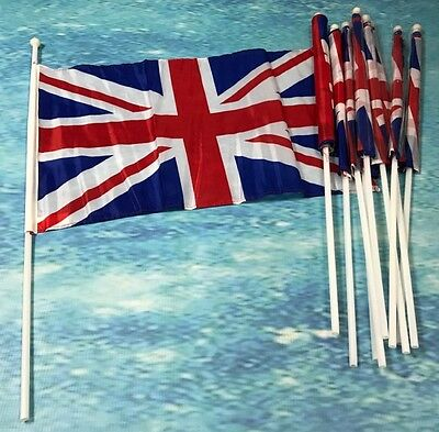 Union Jack Fabric Hand Flags 45x30cm / 18x 12 inches British Celebrations Events