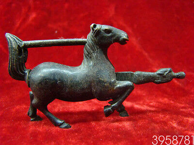 Exquisite Chinese old style Brass Carved Lifelike Horse padlock lock and key