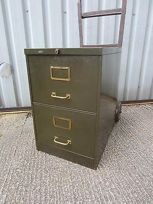 "Vintage ""Roneo"" Metal Filing Cabinet Industrial Factory Antique"