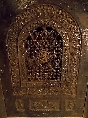 Antique Cast Iron Ornate Victorian Fireplace Surround & Summer Cover Insert Ny