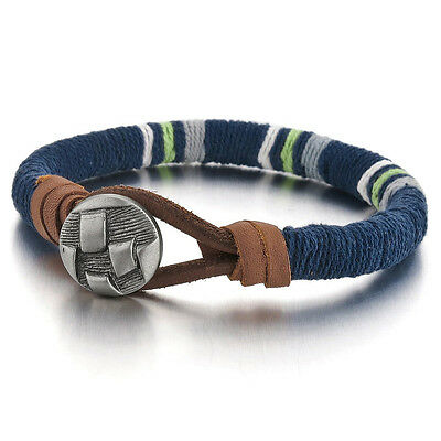 Alloy Leather Bracelet Bangle Bracelet Silver Blue Rope Retro Punk Rock Man J6B1