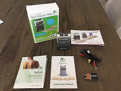 NEW Med-Fit 3 Digital Dual Channel Tens Machine + 16 Electrode Pads