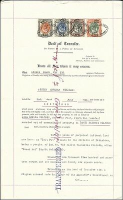 (66953) South Afrika 1916, Deed of Transfer, KGV  2/6s, 5/-s, 1Pd, 2Pd