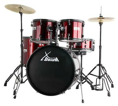 Kit Batterie Percussion Drum Set Debutants Support Tymbale Pedale Tabouret Rouge