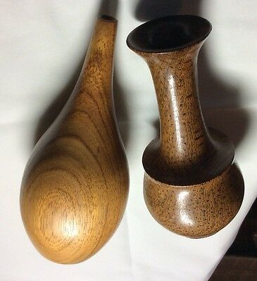 Treen Vases-lacewood And Blackwood