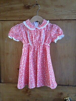 Tick-a-tee Vintage Childs Dress Age 3 Years Pink Floral Peter Pan Collar - New