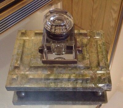 Antique Green Onyx Inkwell With Glass Ink Pot