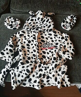 Baby Toddler Girls Disney 101 Dalmations Dressing Gown Slippers Age 9-12 Months