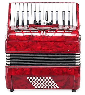 Accordion 48 Bass Buttons 26 Treble Keys Piano Concertina Bag Straps Set Red