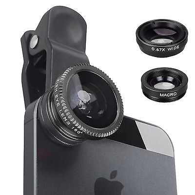 Universal 3in1 Clip Lens Kit Wide Angle Fish Eye Macro For iPhone-HALOWEEN GIFT