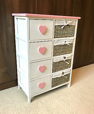 Pink Girls Chest Drawers Wicker Baskets Storage Unit Retro Princess Bedroom