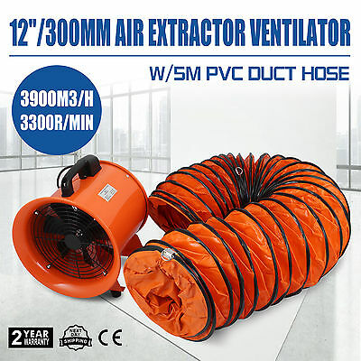 """12"""" Duct Fume Extractor Ventilation Fan +5m Ducting Telescopic Exhuast PVC Duct"""