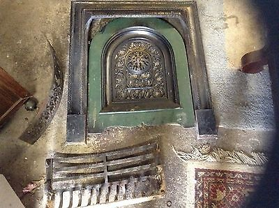 ANTIQUE LATE 1800'S FIREPLACE COVER TIN SUMMER COVER and grate etc