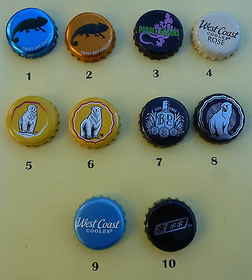 10 Mixed drink Crown Seal Bottle Caps from Australia (Lot 2)