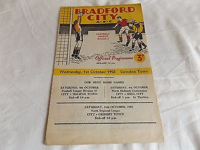 Bradford City  V Swindon  1.10.1958   Programme