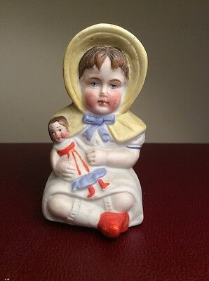"Antique GERMAN  Hand Painted Porcelain BISQUE FIGURINE  "" Girl Holding Doll"""