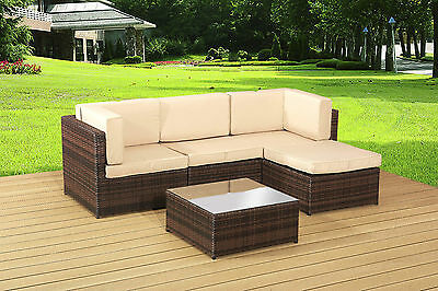 Garden Rattan Furniture Brown Corner Set And Table - Outdoor Patio Conservatory