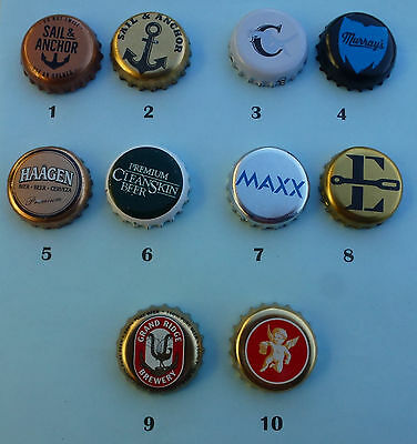 10 Beer Bottle Crown Seal Caps from Australian Small Brewerys  (Lot 10)
