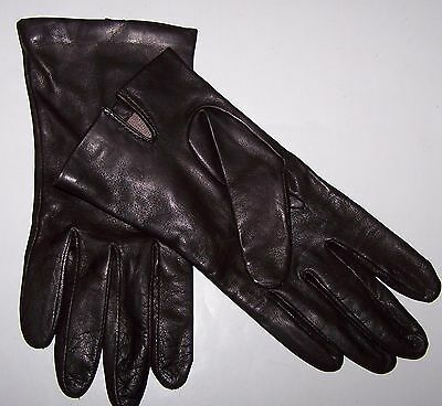 New NWOT Lord & Taylor Dark Brown Leather Gloves Silk Lined Sz 8