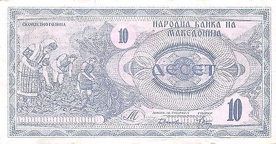 Macedonia  10 Denar  1992  P 1a   Circulated Banknote W0617