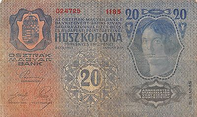 Austria / Hungary Empire  20 Kronen  2.1.1913  Series 1185  Circulated Banknote