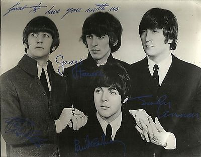 Beatles Italian Promo Photo Fan Club Signed Pre Printed Matted & Framed Original