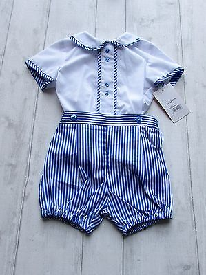 """Boys Spanish """"Baby-Ferr"""" Blue &White two piece romper size 18 months"""