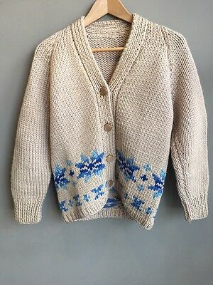 Vintage Retro Chunky Hand Knitted Ladies Womens Youth Cardigan Size 10/12