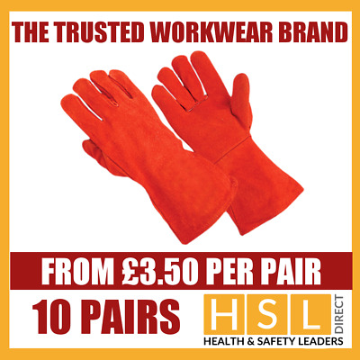 "10 Pairs 16"" Leather Welding Gloves/ Gauntlets/welders Glove Red Heat Resistant"