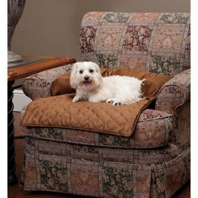 Solvit Sta-Put Bolstered Pet Dog Cat Furniture Chair Protector Cover Bed Cocoa M